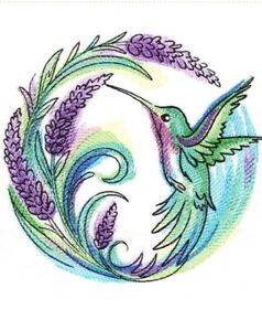 HUMMINGBIRD LAVENDER  TOWELS BATHROOM HAND WASH KITCHEN EMBROIDERED BY LAURA