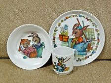 Vintage Peter Rabbit Melamine 3 Piece Dinnerware Set ~ Plate Bowl Mug ~ Silite