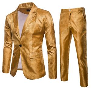 Mens Business Print Floral 2PCS One Button Blazer Straight Pants Slim Fit Casual