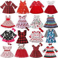 US Xmas Baby Girl Princess Dress Kids Lace Plaid Tutu Deer Party Pageant Dresses