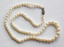 "Vintage 16"" Natural Pearl Necklace 14k White Gold Clasp"