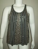 Cato Womens Top Size XL Gray Sequin Front Tank Top Summer Casual Dressy