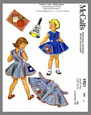 Vintage McCall's Child's Wrap Apron Dress Fabric material sewing pattern # 1921