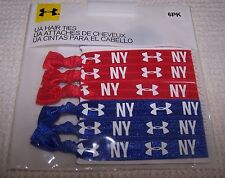 "Under Armour UA Hair Ties ""NY"" Hair Bands 6pk RED (3) BLUE (3) ~ NWT"