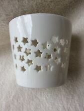 round tea light holder / ceramic / star pattern / large tea-light included