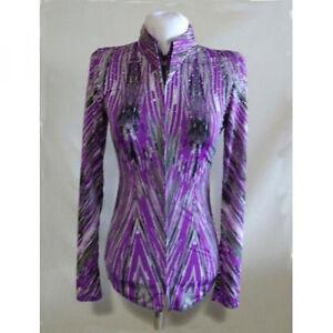 123504 Lisa Nelle Purple Chevron Ladies Horsemanship Shirt Small ONE OF A KIND!
