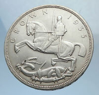 1935 Great Britain UK St George Horse King George V Big SILVER CROWN Coin i71761