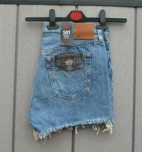 """Ladies Levis 501 Shorts Classic Vintage Denim Shorts 28"""", 29"""", 30"""" & 31"""" Waist"""