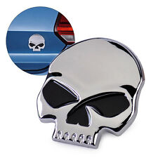 Silver 3D Metal Skull Bone Car Moto Auto Bike Chrome Emblem Badge Decal Sticker