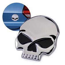 Silver 3D Metal Skull Bone Car Moto Auto Bike Chrome Emblem Badge Decal Sticker