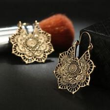 Antique silver Gypsy Indian Tribal Ethnic Hoop Dangle Mandala Earrings Boho New