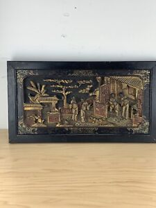 Antique Chinese Wooden Hand Carved Temple Scene Gilt Wood Panel Relief.