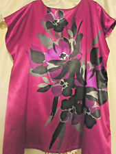 FASHION BUG WOMEN'S SIZE 1X TUNIC TOP W/ LARGE FLORAL FRONT & CRANBERRY SHADES