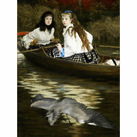 James Tissot On The Thames A Heron Extra Large Wall Print Premium Canvas Mural