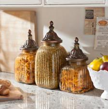 Antique Vintage Kitchen Counter Top Decor Glass Canister Set Jars Bronze Finish