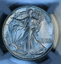 1943 50C Walking Liberty Silver Half Dollar NGC MS64 BU UNC White Super Clean!