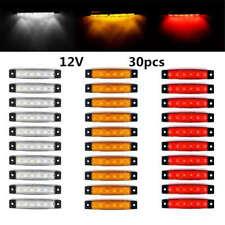 30 X White/Amber/Red 6LED Truck Trailer Side Marker Indicators Lamp Light 12V DC