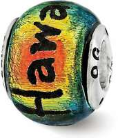 Sterling Silver Reflections Hawaii Orange Dichroic Glass Bead