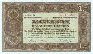 NETHERLANDS 2&1/2 Gulden 1920 P15 VF+