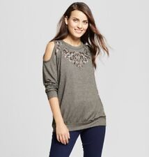 Women's Embellished Cold Shoulder Sweatshirt Knox Rose Olive S NWT Scoop Neck