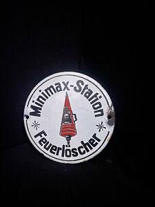 Minimax Feuerlöscher Station 10 cm Original Emailleschild Türschild um 1920