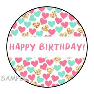 "30 HAPPY BIRTHDAY HEART ENVELOPE SEALS LABELS STICKERS 1.5"" ROUND PINK GOLD MINT"