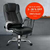 Office Chair Gaming Executive Computer Chairs Leather Seating Black Artiss