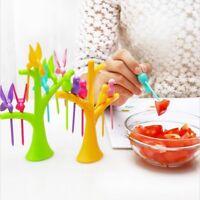 6pc Fruit Fork Set Bird Tree Creative Vegetable Dessert Food Picks Plastic Tool
