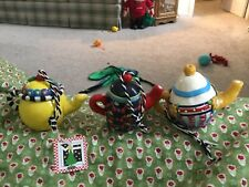 3 Early Rare Mary Engelbreit Teapot Ornments