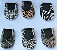 Animal Print Fold Up Flats Roll Up Pumps Fold Up Shoes Post Party Pumps Free Bag