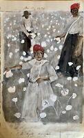 Contemporary African American Slave Painting Painted On 1876 Ledger Reproduction