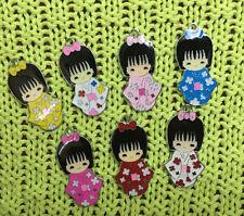 Lot 16 pcs JAPANESE DOLLS girl Charms pendants DIY Jewellery Making crafts