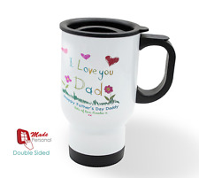 PERSONALISED Travel Thermal Mug 14oz - Dad Fathers Day Gift- Drawing Design