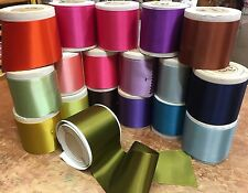 "Vintage Rayon 1940s Blend 3"" Double Sided Satin Ribbon 1yd Made in France"