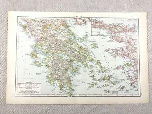 1895 Map of Greece Greek Islands Crete Zante Antique 19th Century Victorian