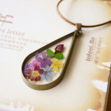 Chic Natural Dried Immortal Flower Transparent Round Glass Pendant Necklace Gift