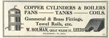 1926 W Holman Great Wilson Street Leeds Copper Cylinders Old Advert