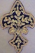 4 Hand-Embroidered Appliques. Fleur De Lis. Blue with Gold Bullion