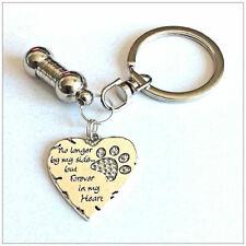 Pet Ashes Urn Jewellery Keyring. Deluxe Rhinestone Pet Paw Heart Keepsake