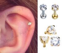 CZ Tiny Gem Labret Tragus Cartilage Earring Lip Bar Stud Crystal Helix Upper 8mm