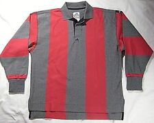 Vintage NOS ADIDAS EQUIPMENT Mens SMALL Gray Red L/S Heavy Polo Rugby Shirt