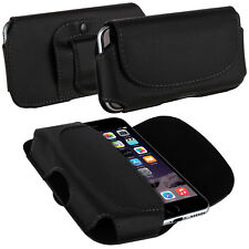 BLACK PU LEATHER MOBILE PHONE BELT LOOP POUCH HORIZONTAL HOLSTER CASE COVER