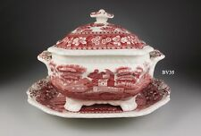 SPODE copeland TOWER PINK SAUCE BOAT WITH LID AND UNDERPLATE - old mark