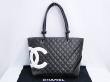 Auth CHANEL Tote Hand Bag Cambon Black White Pink Lambskin Leather 31170137500 G