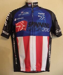 Hincapie Team Cycling Jersey Mens XS Red White Blue Spin Nation 2010 Full Zipper