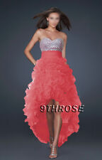 TRENDY HIGH-LOW HEM! FANCY FRILL SKIRT PROM/FORMAL/EVENING DRESS; CORAL AU16US14