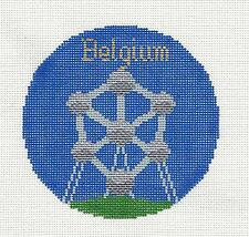 """BELGIUM  Country 4.25"""" Ornament handpainted Needlepoint Canvas by Silver Needle"""