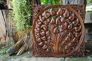 "23"" Rustic Thick Bohemian Bodhi Tree of life Wooden Craved Teak Wood Panel Art 1"