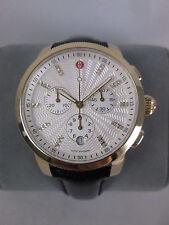 NEW Michele Uptown Gold Tone Diamond Dial Watch Black Band MW25A00A9942 NIB