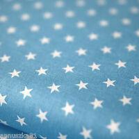Baumwollstoff Baumwolle Sterne Weiß 8mm Groß auf Babyblau mit Sternen